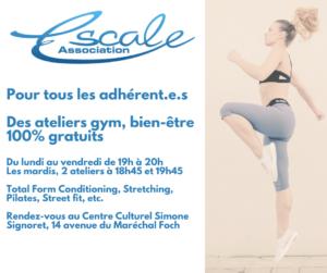 Stages Gym, Bien-être, 100% gratuits pour les adhérent.e.s