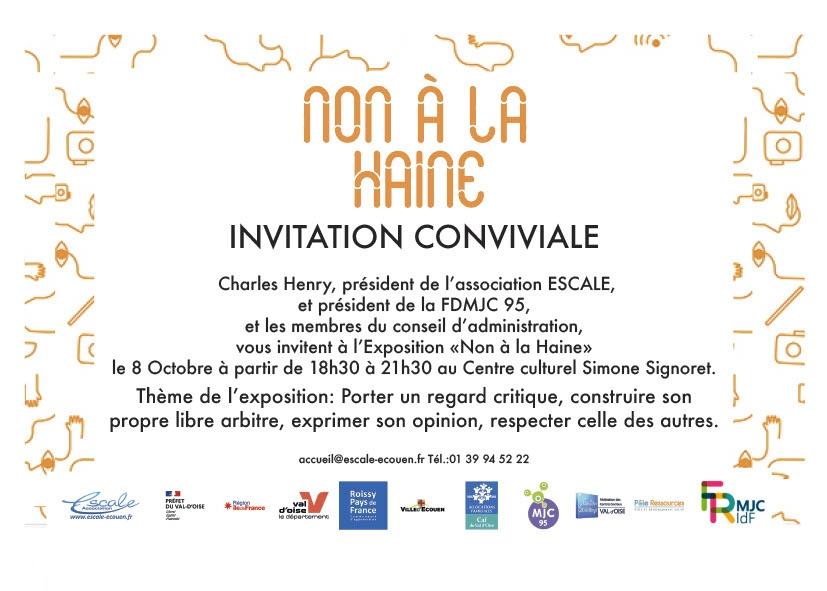 You are currently viewing INVITATION AU VERNISSAGE DE L'EXPOSITION NON A LA HAINE